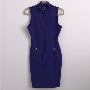 Purple Zip-Up Bodycon Fitted Dress